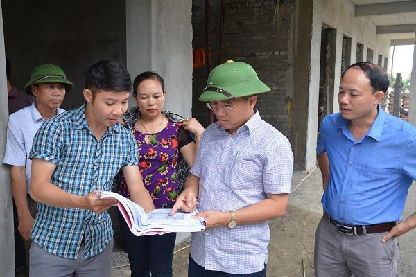 Lãnh huyện Kỳ Anh kiểm tra tiến độ xây dựng Trường Mầm non Kỳ Lạc