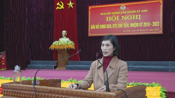 Đ/c Dương Thị Anh, ủy viên BTV Hội Nông dân huyện Khai mạc Hội nghị