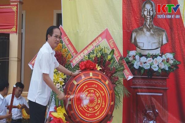 Đồng chí Lê Văn Sao, Giám đốc Công an tỉnh dự lễ khai giảng năm học mới 2018-2019 tại Trường THCS Kỳ Tân